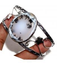 Серебряный браслет скоба с дендрическим опалом