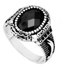 Мужское кольцо из серебра с черным ониксом 21.5р