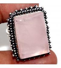 Серебряное кольцо с розовым кварцем 19р