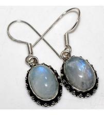 Серебряные серьги подвески с натуральным лунным камнем