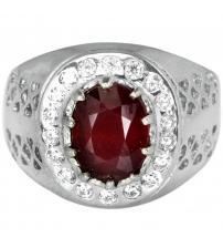 Мужской серебряный перстень с натуральным рубином 19р