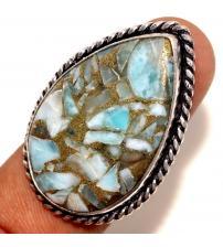 Серебряное кольцо ларимар в пирите 18.5р