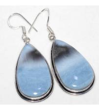 Срібні сережки з блакитним Овайхі опалом
