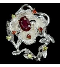 Арт-коллекция Серебряное кольцо с натуральным рубином 18р