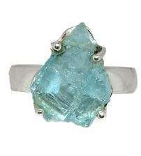 Серебряное кольцо с необработанным аквамарином 18р