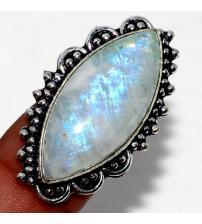 Серебряное кольцо с огромным лунным камнем 16р