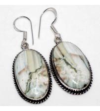 Серебряные серьги-подвески с белым полосатым агатом