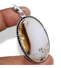 Серебряная подвеска с крупным мерлинитом (дендрическим опалом)