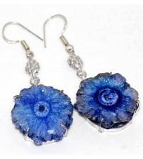 Срібні сережки з блакитним сонячним кварцом