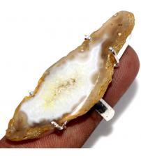 Серебряное кольцо с друзой желтого агата 17р