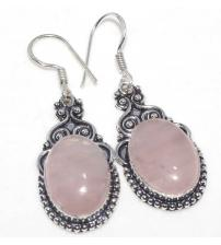 Срібні сережки з рожевим кварцем