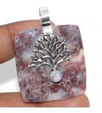 """Срібний кулон з агатом та місячним каменем """"Дерево Життя"""""""