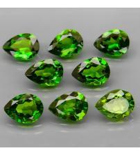 0.73Ct Натуральный камень зеленый Хромдиопсид 7*5мм груша (цена за 1шт)