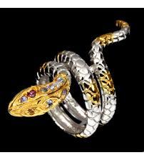 """Эксклюзив! Серебряное кольцо с танзанитмаи и сапфирами """"Змея"""" 16р"""