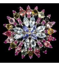 Exclusive! Серебряное кольцо с аквамарином, танзанитом, турмалином и рубином 18р