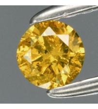 0.13Ct Натуральний жовтий діамант 3.3мм з Сертифікатом (Fancy Yellow Green) Відео