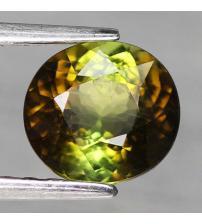 1.47CT Двокольоровий зелений турмалін 7.1*6.6мм (овал) Сертифікат