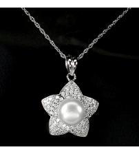 """Срібний кулон з натуральною перлиною """"Квітка"""""""