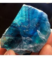 589Ct Крупный голубой Флюорит минерал 65*40мм Сертификат