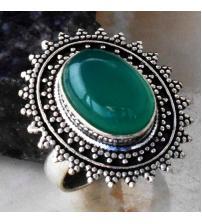 Эксклюзив! Серебряное кольцо с зеленым ониксом 18р