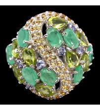 """Срібний перстень з смарагдами, хризолітами, танзанітом і сапфірами """"Буржуа"""" 19р"""