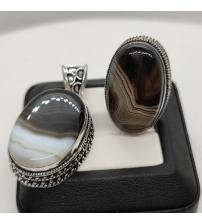 Кольцо и кулон с натуральным агатом (можно по отдельности)