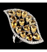 Эксклюзив! Крупное Серебряное кольцо с натуральными цитринами 18.5р