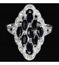 Серебряное кольцо с натуральными сапфирами Премиум класса 16.5р