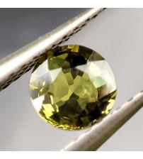 0.67Ct Желто-зеленый не гретый сапфир 5.2мм круг (Сертификат)