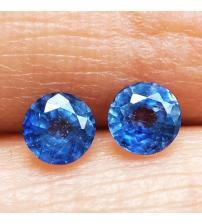 0.83Ct Пара натуральных синих сапфиров 4.1мм круг