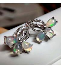Срібні сережки з натуральним опалом