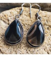 Серьги-подвески с черно-коричневым агатом
