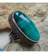 Перстень с зеленым Ботсванским агатом 17.5р