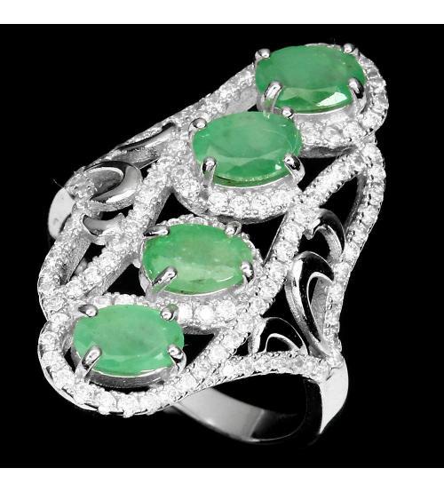 Крупное серебряное кольцо с натуральными изумрудами 17р