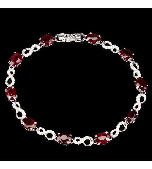 """Роскошный серебряный браслет с рубинами цвета """"голубиная кровь"""""""