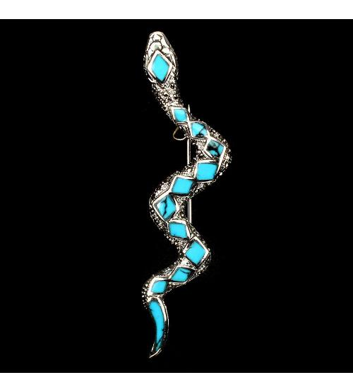 Серебряная брошь Змея Аризонская бирюза марказиты