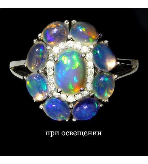 Восхитительное серебряное кольцо с эфиопскими опалами 19р