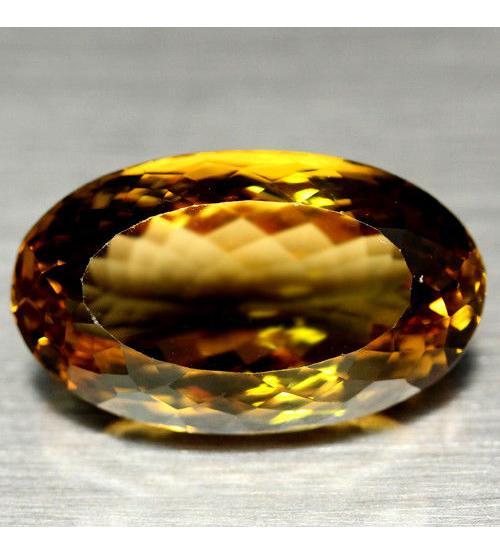 37.37Ct Ексклюзив! Огромный янтарно-желтый кварц 28*16мм овал - Высокое качество. Доставка по Украине.