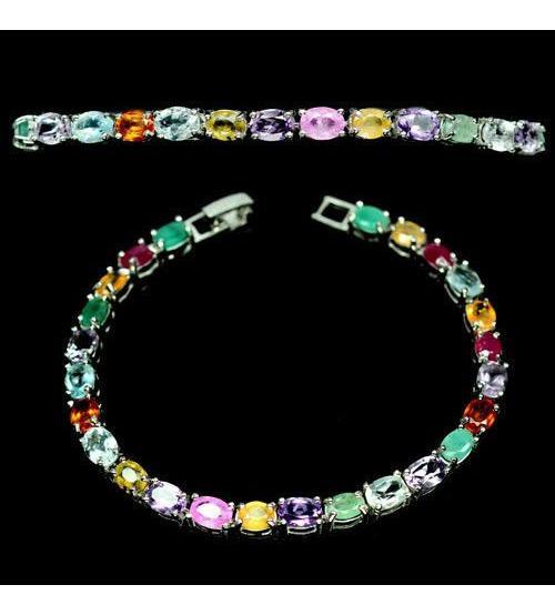 Серебряный браслет с драгоценными камнями