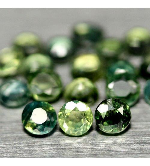 0.17Ct Натуральный Зеленый Сапфир 3мм круг (Цена за 1шт)