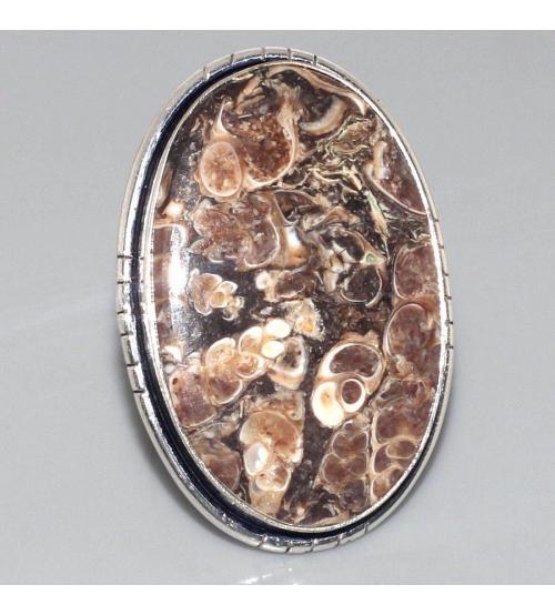 Крупное серебряное кольцо с Агатом Турителла 17р
