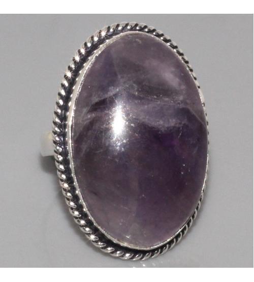 Крупное серебряное кольцо с натуральным аметистом 18р