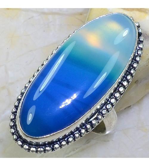 Серебряное кольцо с голубым агатом 18.5р