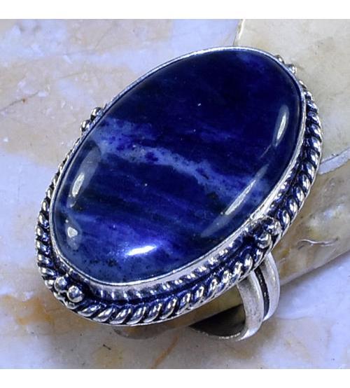 Серебряное кольцо с натуральным содалитом 18.5р