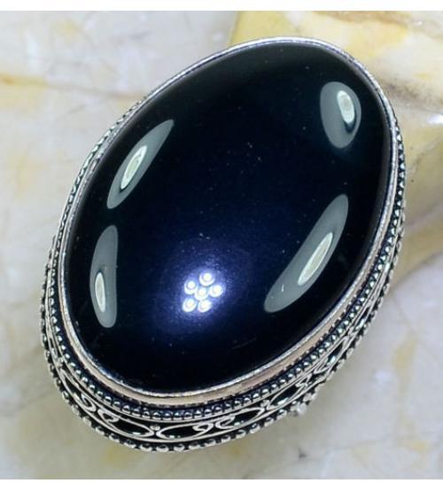 Винтажный серебряный перстень с черным ониксом 17.5р