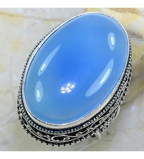 Винтажный серебряный перстень с голубым халцедоном 17.5р