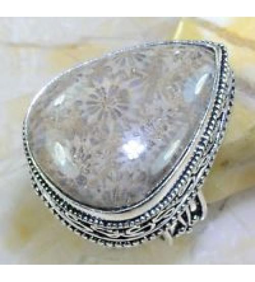 Винтажное серебряное кольцо с хризантемовой яшмой