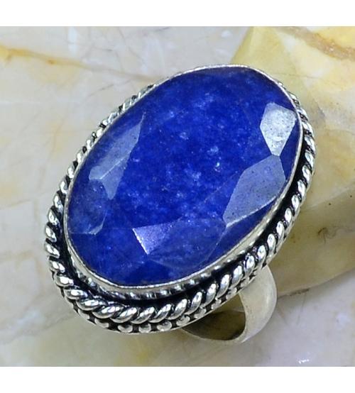 Серебряное кольцо с индийским сапфиром (корундом) 18р