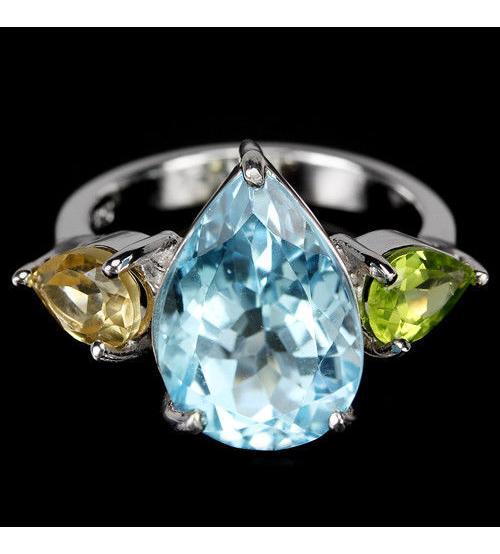 """Серебряное кольцо с крупным топазом, цитрином и перидотом """"Дельта"""" 17р"""