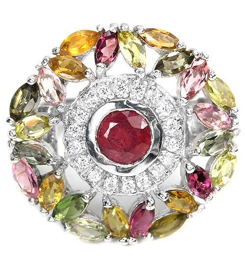 "Огромное серебряное кольцо с рубином и турмалином ""Богема"" 18.5р"